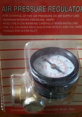 Inline Air Pressure Regulator with Gauge Solid Brass Construction 160 PSI New