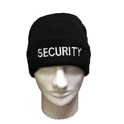 "Black 12"" Long Security Beanie with Security Logo in White or Gold"