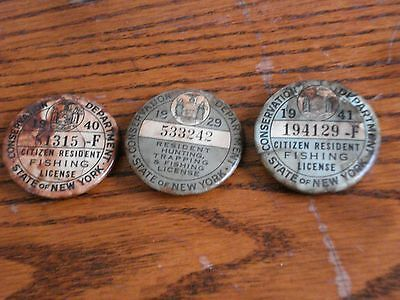 3 Vintage  New York State Resident Hunting Trapping & Fishing Pin Back License