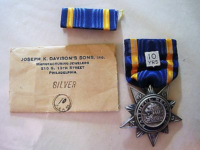 STERLING SILVER NATIONAL GUARD NEW JERSEY 10 YR FAITHFUL SERVICE MEDAL w/RIBBON
