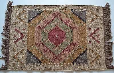 Kilim Rug Indian Jute Wool Hand Knotted Geometric 60x90cm 2x3ft