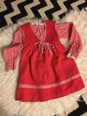 Vtg Toddler Girls Red White Party Dress German Valentines Day 2T 3T Vintage