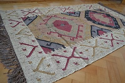 Kilim Rug Indian Jute Wool Hand Knotted Geometric 150x210cm 5x7ft