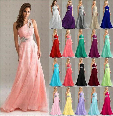 New Long Chiffon Wedding Formal Evening Party Bridesmaid Ball Gown Prom Dress UK