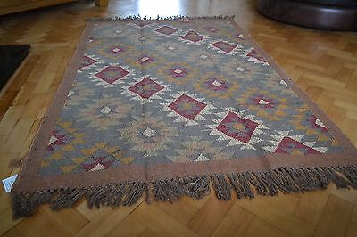 Kilim Rug Indian Jute Wool Hand Knotted 180x240cm 6x8ft Diamond Geometric