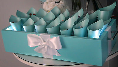 Tiffany Blue Wedding Theme Carry Box Wooden Cones Confetti Carrier Made To Order