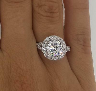 3 Ct Round Cut Diamond Engagement Ring SI1/D 14K White Gold