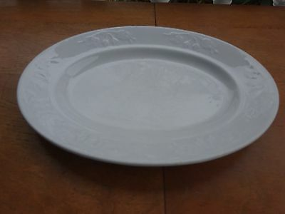 """Antique J & G Meakin White Ironstone China BELL FLOWER 10"""" Oval Platter ENGLAND"""