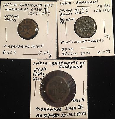 Bahamani Sultanate lot of 3 over 500 years old - nice condition - from USA