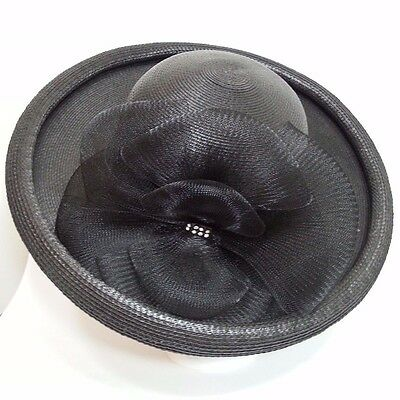 """Hand Trimmed Rolled Brim Black Formal Dress Hat For Derby Party Or Church 21"""""""