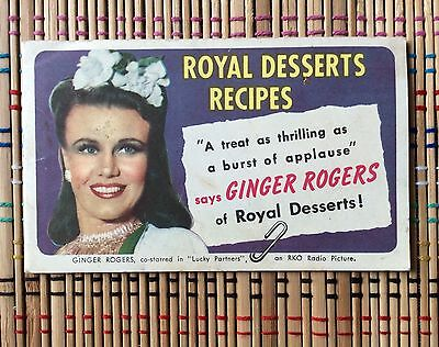 1940 Royal Desserts Recipes Booklet:  Ginger Rogers Hollywood Tie-In