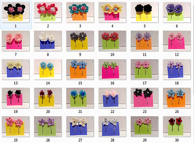 Handmade Headpiece Hair Pin Accessory Colorful Fabric Satin Flowers - Sets of 2