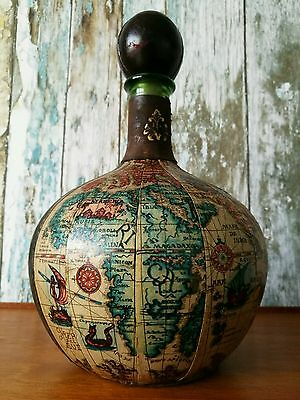 Vintage Italian Old World Globe Leather Green Glass Decanter