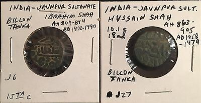 Jaunpur Sultanate lot of 2 billon tankas Ibrahim and Hussain Shah AD 1402-1479