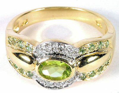 Spectacular Oval Cut Peridot & Diamond Ring in 10k Yellow Gold