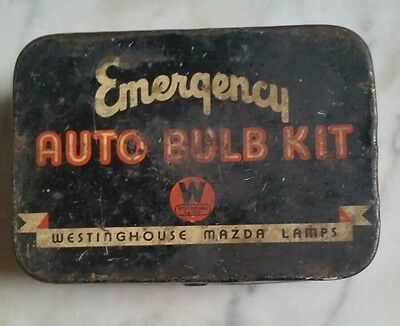Vintage advertising tin emergency bulb kit Westinghouse