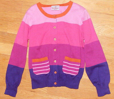 NWT Hanna Andersson girls colorblock cotton cardigan sweater, size 120 (6-8 Y)