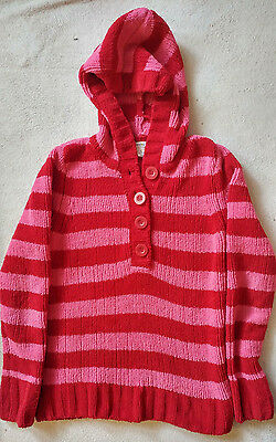 Girl's Greendog Pink & Red Striped Hooded Pullover Sweater Size Large~Super Soft
