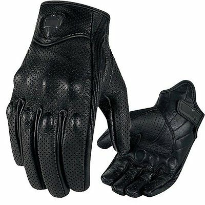 Mens Summer Leather Motorcycle Motorbike Gloves Perforated Black Biker M L XL