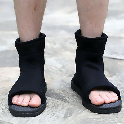 Naruto Konoha Ninja Village Black Cosplay Shoes Sandals Boots Costume 45 US 10.5