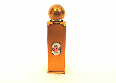 Antique Glass, Pink Rose, Enamel, Gold Plated Perfume Bottle With Glass Dauber