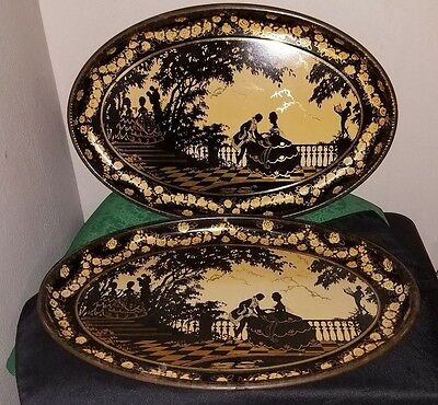 GORGEOUS Pair Vtg/Antique Oval TOLEWARE Trays w/Victorian Courting Scene~SIGNED!
