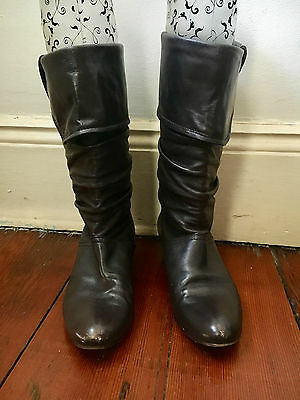 Astton Brown Soft Leather Mid-Calf Boots Size 39