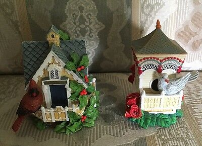 The Hamilton Collection Birdhouse Figurines CARDINAL COTTAGE & DOVE ESTATE -EUC