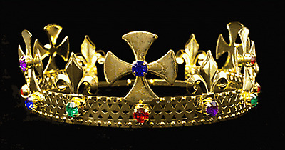 #K24 Pageant King's Crown Gold-Plated Metal & Faux Jewels -  Adjustable Size