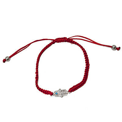 Red String Woven Bracelet with Hamsa and the Eye of Fatima Kabbalah Talisman