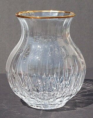 Textured Rounded Bottom Gold Lined Trim Flared Crystal Glass Vase