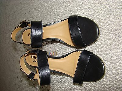 Black leather sandals with feature block heel US 9 / Eur 40