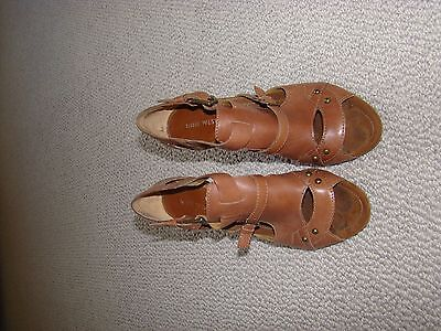 Nine West Tan Leather Heels with feature buckles - size 8.5