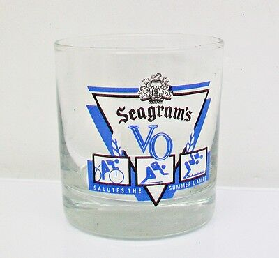 """SEAGRAM""""S VO Salutes The Summer Games ON THE ROCKS Tumbler BAR GLASS"""
