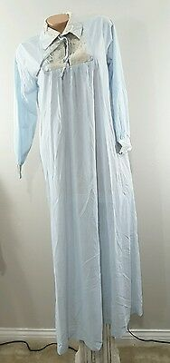 Vintage Gilead Sz M blue long Sleeved Long Nightgown w ecru lace buttery nylon