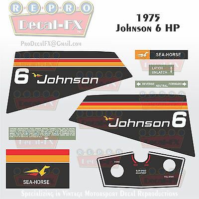1989-90 Johnson 50 HP Sea-Horse Outboard Reproduction 6 Pc Marine Vinyl Decals
