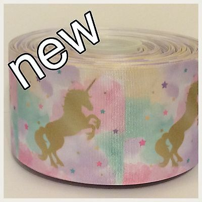 UNICORN INSPIRED GROSGRAIN RIBBON  25mm/38mm/50mm/75mm wide - sold by the metre
