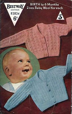 "Vintage Knitting Pattern Bestway B2834 Baby Cardigans Mock Cable Lacy 20"" 3 Ply"