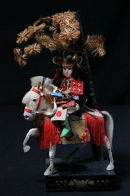 Japanese Samurai Doll On Horse Antique Height: 32 cm (12.59 inch)