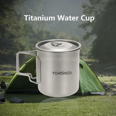 Docooler Grey 420ML Titanium Water Cup Outdoor Picnic Camping Mug with Lid X5T9
