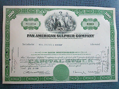 100 Acc. Pan American Sulphur Company,Limited.100 SHARES;WOOD STRUTHERS WINTHROP