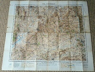 Ordnance Survey Half-Inch Tourist Map of The Cotswolds, 1932 on cloth