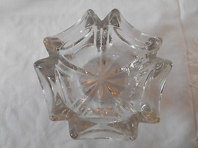 Antique Clear Cut Glass Candle Holder/trinket Dish/bowl