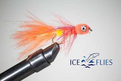 Fly Fishing Weighted Dog Nobbler 8x FLIES ORANGE sizes 1-12 Palmered Pack #124O