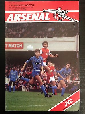 Arsenal v Plymouth 1983-84 programme