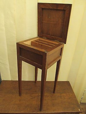 Oak Wood Sewing Work Box Table Removable Tray H 65 cm Faults Antique Furniture