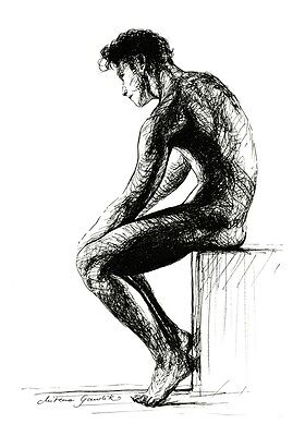Original Ink Drawing Sketch Sitting Male Nude Silhouette B&w Signed Artwork