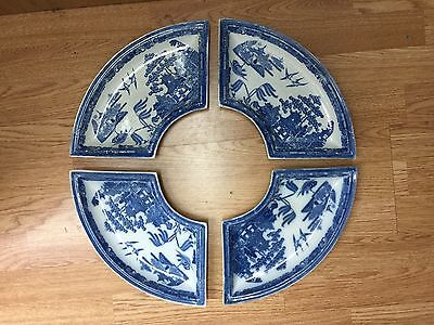 Antique Spode supper set C1850 blue and white china circulare plates 4 pieces