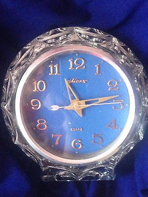 Vintage Rare Crystal Collectible Ussr Table  Clock Majak Mayak Blue Dial