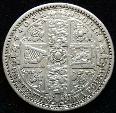 1849 Godless Florin/two Shillings. Victoria Silver Coins.